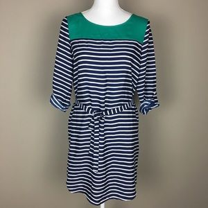 Gap Belted Stripe Blue Green Dress Tab Sleeve S